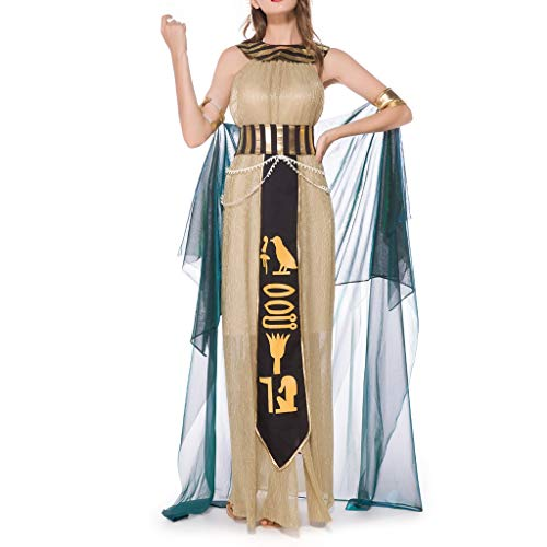 Sloater Griechische Göttin spielt Kostüm Kleid, Retro Halloween Sexy Elegant Damen Kleid Gold Kleid + Kopfschmuck + Kragen + Armband Cape + Bund + Taillenkette