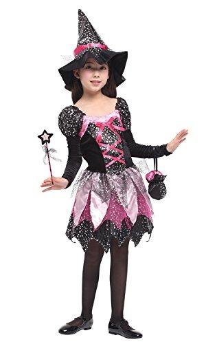 (DEMU Hexenkostüm für Kinder Mädchen Halloween Kostüm Hexenkleid mit Hexenhut XL(130-140))