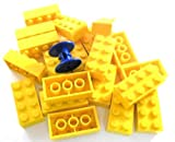 20-Stck-LEGO-Stein-2×4-Noppen-in-Gelb-Dazu-eine-Kabelrolle-in-Blau