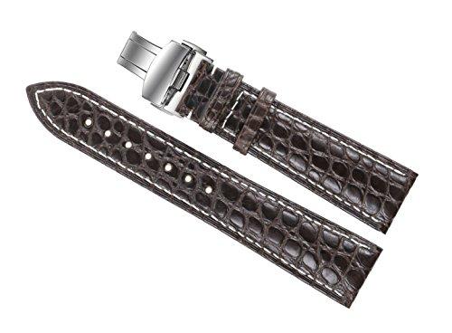 22-mm-di-colore-marrone-scuro-di-lusso-cinturini-vero-coccodrillo-sostituzione-pelli-bande-con-cucit