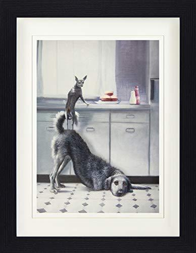 1art1 113757 Hunde - Teamwork, Zwei Hunde, DREI Hamburger Gerahmtes Poster Für Fans Und Sammler 40 x 30 cm
