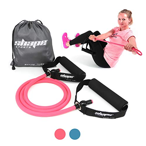 Shape Tube - Fitnesstube aus elastischem & reißfestem Material - mittlere Stärke + praktischer Transportbeutel, Bonus E-Book (pink)