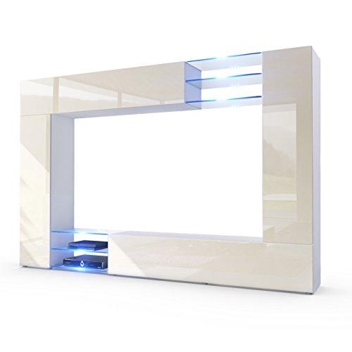 Vladon Wohnwand Anbauwand Mirage, Korpus In Weiß Matt/Fronten In Creme  Hochglanz Inkl. LED Beleuchtung