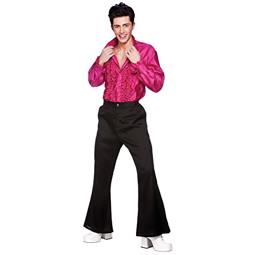 (Crazy Groovy 70er Disko Shirt Pink Verkleidung für Männer Halloween Kostüm L)