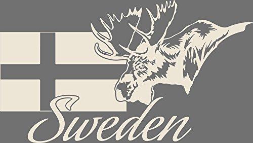 GRAZDesign 630241_30_816 Wandtattoo Design Wohnzimmer Schweden Sweden Elch Flagge Länder Welt Karte (53x30cm//816 Antique White)