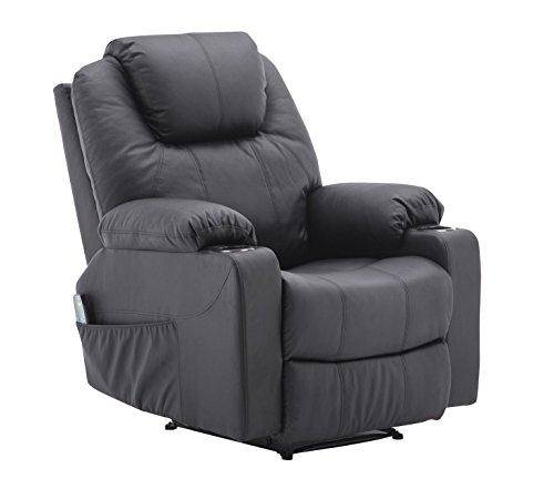 MCombo Massagesessel Fernsehsessel Relaxsessel mit Vibration+Heizung 7031 (Schwarz)