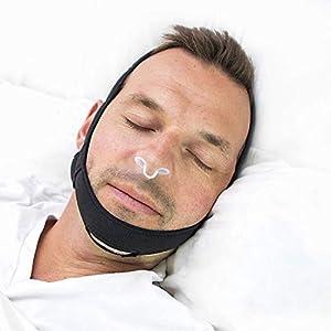 Anti Schnarchen Kinnriemen Lösung – Mit Einstellbaren Nasenschlitzen in 3 Größen, Komfortables Anti-Schnarchen Gerät zum Schlafen und Dilatator – Die perfekte Kiefer-Atemhilfe Für Schlafstörungen. Es Lohnt Sich Für Eine Ruhige Nacht