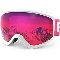 findway Masque de Ski Protection pour Enfant Lunette Ski Masque Ski OTG de Garçon ou Fille Anti-UV Antibuée Compatible avec Casque pour Ski Snowboard Autres Sports Hiver (Lentille Rose (VLT 44.92%))