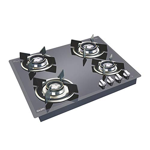 Glen Glass Top 4 Burner Gas Stove with Forged Brass Burners (BH4B60ROHTDB Cooktop, Black)