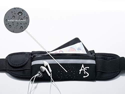 AS Sport Hüfttasche Neopren Gürteltasche Flaschenhalter Ultraleichte Bauchtasche mit Kopfhörerausgang für alle Handys unter 6 Zoll Hüfttasche Hundetraining