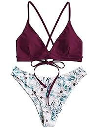 ZAFUL Damen Gepolsterter Bikini Set Bademode Badeanzug mit Blumenmuster Schnürung Zweiteilig