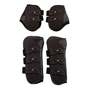 HEEPDD Horse Support Boots Black 1 Pair PU Secure Leg Protection Horse Tendon Boots Equestrian Equipment for Jumping Riding Eventing Dressage