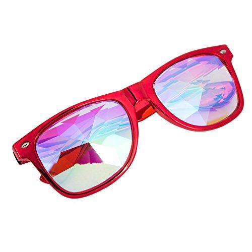 FIRSTLIKE 3-5 Lieferung, Kaleidoskopbrille - Regenbogenprismen-Diffraktion-Kristall-Linse für festliche Karnevalsparty, FL@MG017-R-USA-LSY-ZT, Red#1