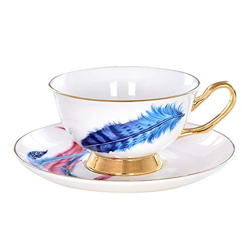 Teetassen Set aus Fine Bone China Porzellan Kaffeetassen China Tea Cup Löffel Und Untertasse Set Gold Trim Fine Dining Und Table Decor für Hauptküchen-Hochzeit ( Farbe : Blau , Größe : Einheitsgröße ) Bone China Gold Trim