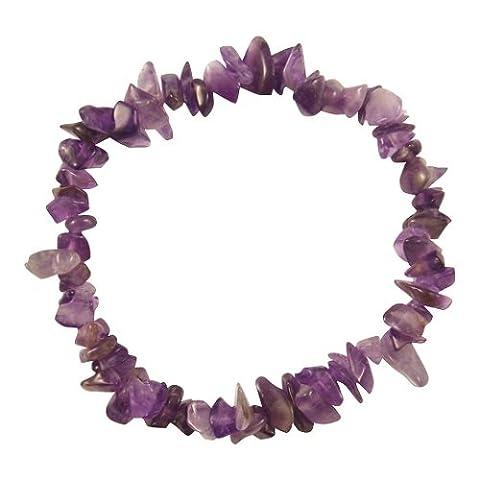 Genuine Amethyst Chip Stone Bracelet