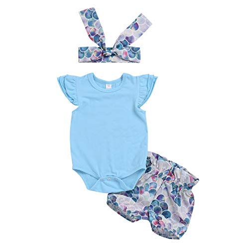 Neugeborenes Baby-Outfit Mermaid Romper + Pants + Headband 3pcs (Color : Pink, Size : 18-24M)