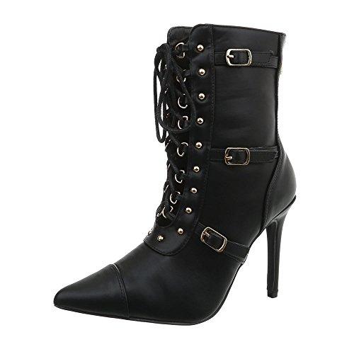 Ital-Design High Heel Stiefeletten Damen-Schuhe Pfennig-/Stilettoabsatz Heels Reißverschluss Schwarz, Gr 38, Jr-046-
