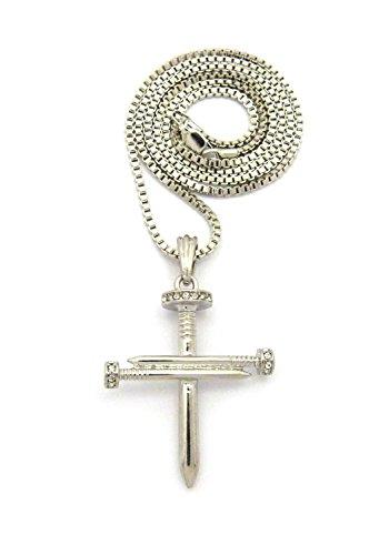 Halskette in Silberton mit reversiblem Kreuz Anhänger aus strassbesetzten Nägeln mit 2mm 61cm Box Kette (Nageln Kreuz 3)