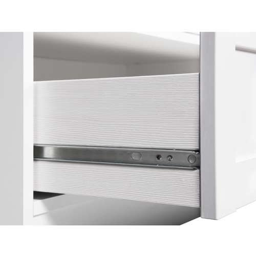 Konsole in weiß mit 2 Ablageflächen und 2 Schubkästen, Griff-Knöpfe in Antik-Optik, umlaufende Profilleiste, Maße: B/H/T ca. 90/75/35 cm - 5
