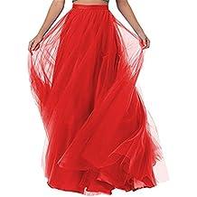 ba2ed24dbf1c CoutureBridal® Femme Jupe Longue Jupe Maxi pour Soirée Mariage Haute Taille  Tulle