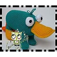 Perry El Ornitorrinco, BOING, AMIGURUMI REGALO NAVIDAD PERSONALIZABLE ( Bebé, crochet, ganchillo, muñeco, peluche, niño, niña, lana, mujer, hombre ) MODA, ORIGINAL, FANTASÍA, OFERTA