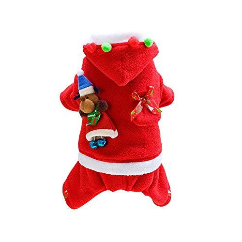 Aolvo Haustierkostüm, Weihnachten, Haustierkleidung, lustiges Haustier Festival, Cosplay, Haustierkostüm, Hundeanzug mit Kappe, Weihnachtsmann-Anzug, Hund mit Kapuze, Weihnachtskostüme