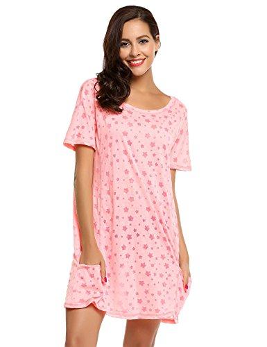d Sleepswear O-Ausschnitt Kurzarm Star Print Nachtwäsche Nachtkleid Casual mit Tasche, Rosa190, Gr. EU 40(Herstellergröße: L) (Stars Ausschnitte)
