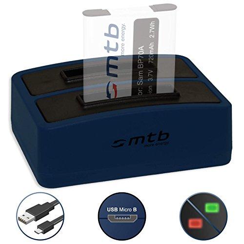 Dual-Ladegerät (USB) EA-BP70A, BP-70-A für Samsung ES.. PL.. ST.. TL.. WB.. - kompatible Geräte siehe Liste! - inkl. Micro-USB-Kabel (2 Akkus gleichzeitig ladbar) -