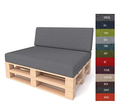 Pillows24 Palettenkissen 2-teiliges Set | Palettenauflage Polster für Europaletten | Hochwertige Palettenpolster | Palettensofa Indoor & Outdoor | Erhältlich Made in EU (2 teiliges Set, Dunkelgrau)