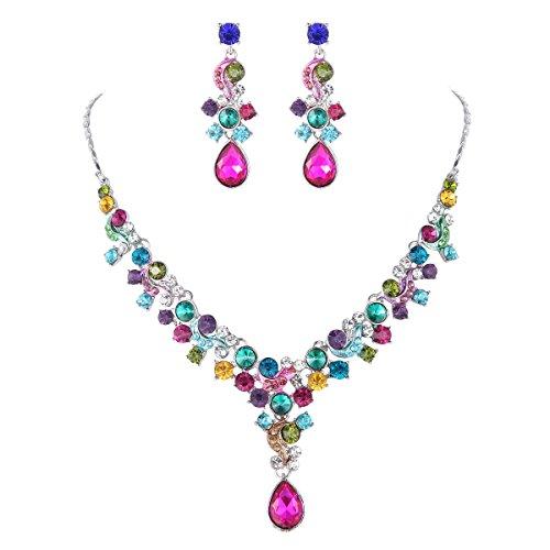 Glamorous Crystal Rhinestone Necklace Earrings Wedding Jewelry Sets Test
