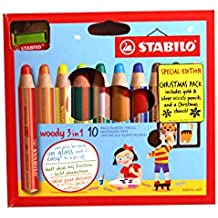 STABILO Woody 3-in-1 Multi-Purpose Pencil with Sharpener and Stencil - Assorted colours (Pack of 10)
