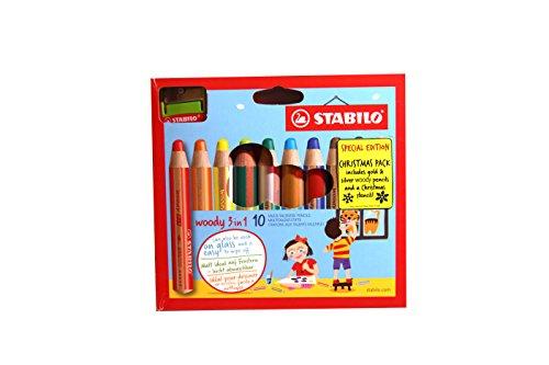 STABILO woody 3in 1Mehrzweck-Bleistift mit Anspitzer und Schablone–verschiedene Farben...