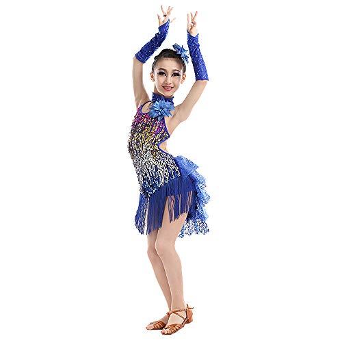 HUO FEI NIAO Tanzkostüm - Latin Tanzkostüm Tanzkostüm 4 Farbe Fringe Kleid Bühnenperformance Tanzkostüm Mädchen Latin Salsa Tanzkleid Fringe Dance Kostüm (Farbe : Blau, größe : 130cm)