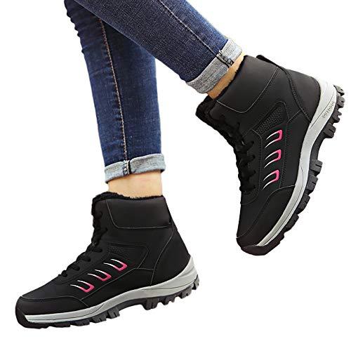 TianWlio Boots Stiefel Schuhe Stiefeletten Frauen Herbst Winter Freizeit im Freien Halten Warmen Sportschuh Flache Dicke Untere Schnee Schuhe Weihnachten Schwarz 40