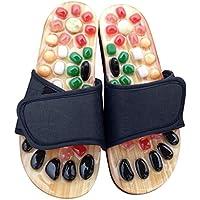 htfrgeds Pantoufles de Massage en Pierre Naturelle,Pantoufles de Massage pour Les Pieds Galet Sandal Acupuncture Blood Flow Feet Relax Shoe