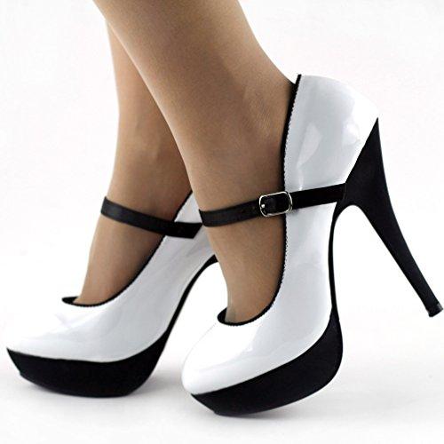 Afficher chaussures de pompe Sexy histoire deux tons noir cheville sangle, stiletto plate-forme LF30456 Blanc