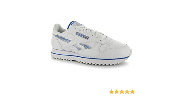596e6ad29349 Reebok Mens Classic Leather Etched Ripple III Trainers Sports Shoes  Footwear White BuffBlue UK 13(48.5)  Amazon.co.uk  Shoes   Bags