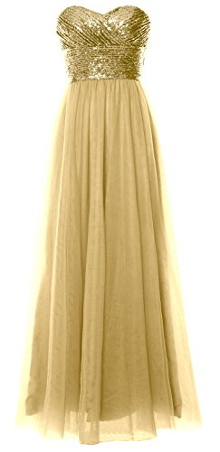 MACloth Women Long Bridesmaid Dress Strapless Sequin Wedding Party Formal Gown Light Gold