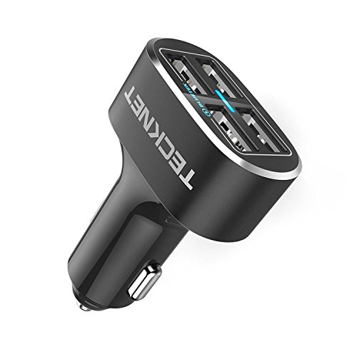 4 Port Car Charger,TeckNet 9.6A/48W USB Travel Car Adaptor Power Dash D2 with BLUETEK Technology for iPhone 8 / 7 / 6 / 6 Plus/ 6S, iPad Pro / Air 2 / Mini 5, Samsung Galaxy S8 / S7 Edge and More
