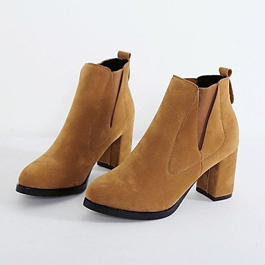 Women's Boots Combat Boots Fall Cashmere Dress Gore Chunky Heel Brown Gray...
