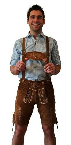 Kurze Trachten - Lederhose Farbe hellbraun, mit Hosenträger, Größe 50