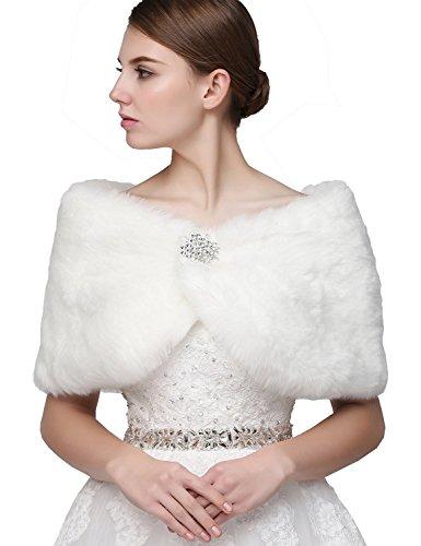 Sarahbridal Damen Kunstpelz Wrap Cape Hochzeit Stola-Schal Bolero für Brautkleid Warm Winter Umhang...