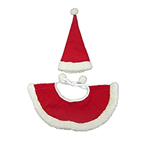 Chat Chien Ensemble de Costume de Noël Cape et Bonnet Rouge et Blanc en Polyester