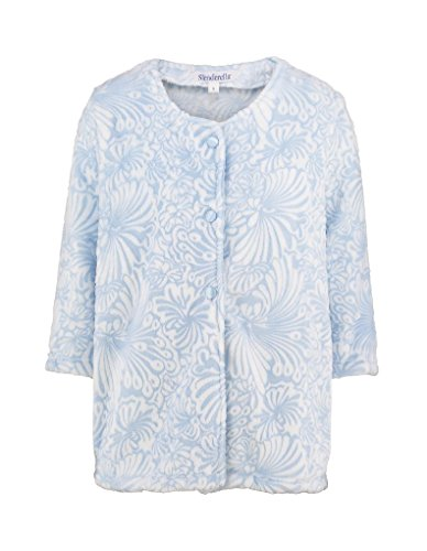 Slenderella BJ7305 Women's Blue Floral Robe Bedjacket XL (46/48 EU) (Blue Robe Floral)