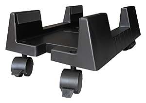 Ewent EW1290 Portacase, Supporto per PC case con rotelle Bloccabili, larghezza regolabile, nero