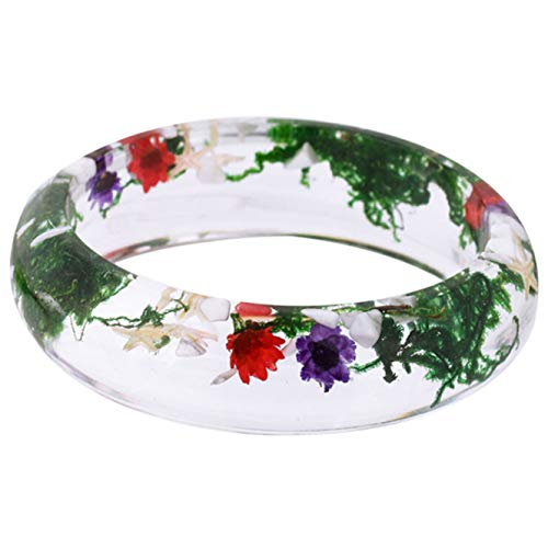 JHhaoxuan Entzückende 1600Handmade Aquatic Plants with Conch & Starfish Pressed Flower Transparent Resin Womens/Girl s's Charm Bracelet -Size Option(None Flower - 60's Flower Child Kostüm
