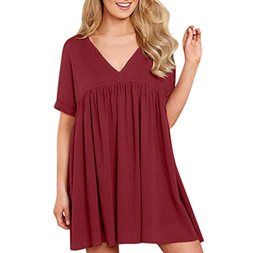 Kleid aus Baumwolle und Leinen für Damen,Zolimx Frauen V-Ausschnitt Lose Plain Kurzarm Kleid Casual Swing Party Kleid Womens Plain Front Chino