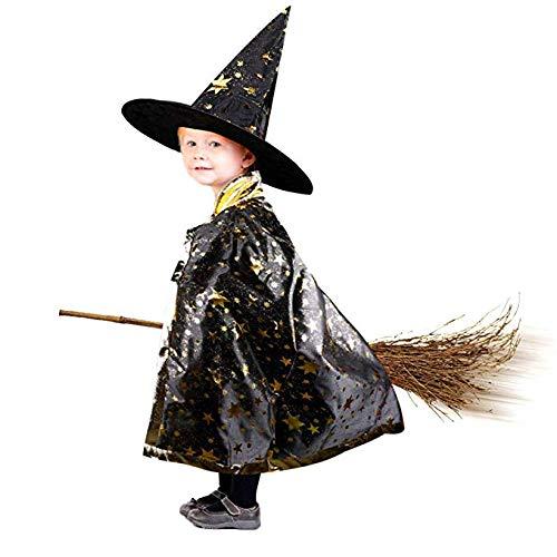 Anzmtosn Disfraces de Halloween Unisex Mago de Bruja Capa con Sombrero Capa de Mago y Sombrero Disfraz de niño para niños Cosplay Disfraz para niños pequeños Niños Niños / niñas (Negro)