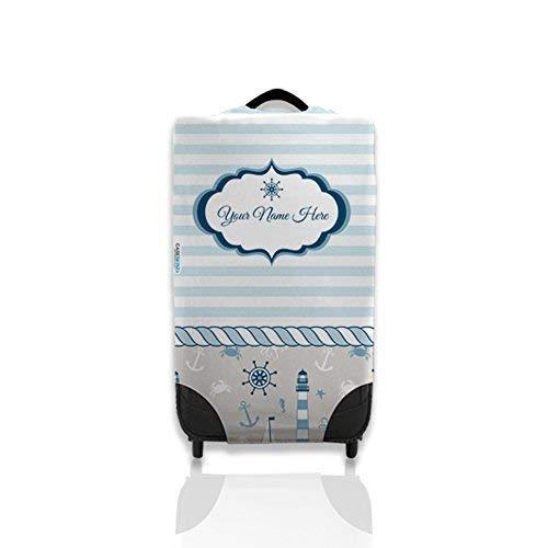 Personalisiert Nautisch Blau Streifen-Design Koffer-Deckel Ihrem Fall Leicht zu erkennen Koffer Nicht im Lieferumfang Enthalten - Blau, L