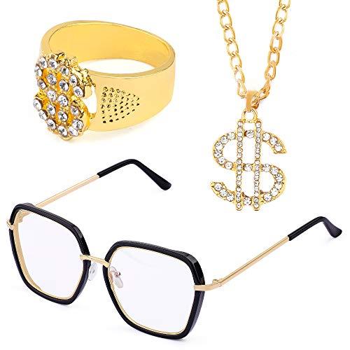 Beelittle Hip Hop Rapper Gangster-Kostüm-Set - Promi-Retro-Stil-Goldkette Goldkette Hip Hop Ring - 80er Jahre 90er Jahre Zubehörset (B) (Rapper Halloween Kostüme)
